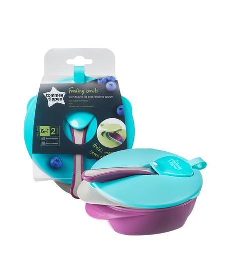 Tommee Tippee Explora Two Easy Scoop Feeding Bowls with Lid & Spoon