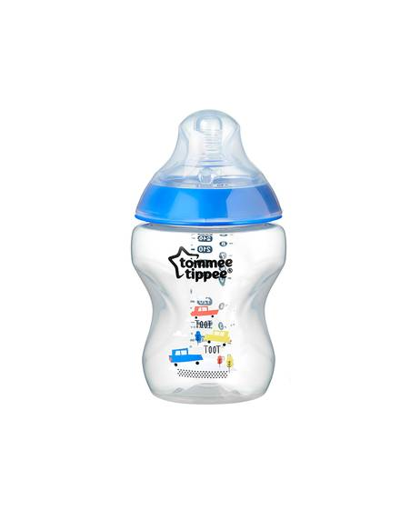 Tommee Tippee Closer to Nature 1x260ml Easi-Vent™ Decorative Feeding Bottle - Boy