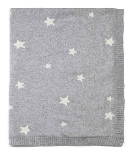 100% Cotton Knitted Blanket - Grey Star