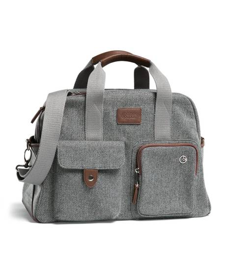 Bowling Style Changing Bag with Bottle Holder - Grey Twill