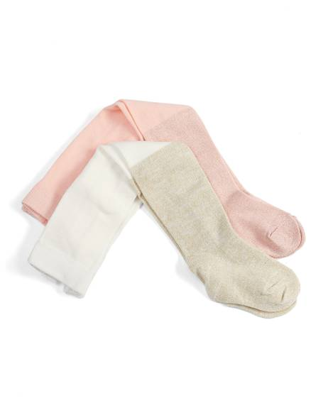Pink & Cream Tights (2 Pack)