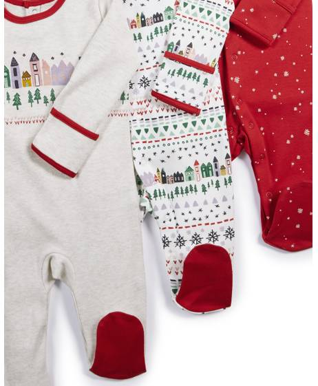 Winter City Sleepsuits - 3 Pack