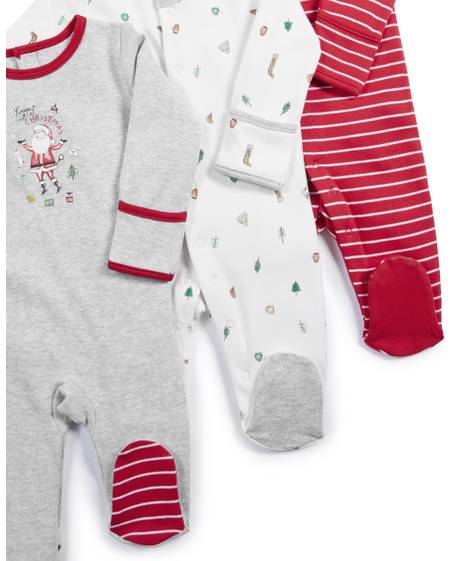 Christmas Santa Sleepsuits - 3 Pack