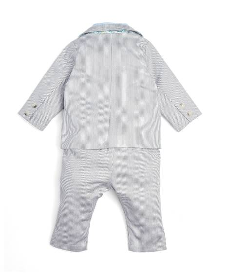 Grey Stripe Jacket, Trousers, Shirt Y& Tie - 4 Piece Set