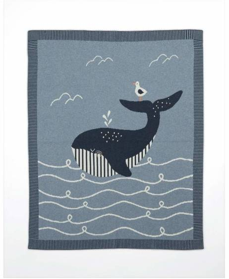 Blue Knitted Blanket - Sail Away With Me