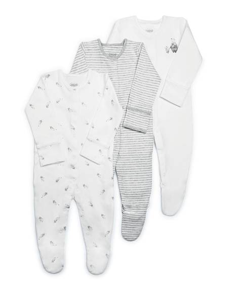 Bear Cotton Sleepsuits - 3 Pack