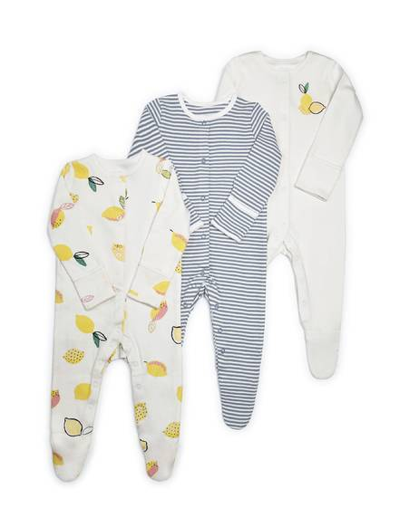 Lemon Jersey Sleepsuits - 3 Pack