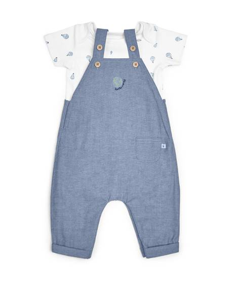 Chambray Dungaree & T-Shirt - 2 Piece