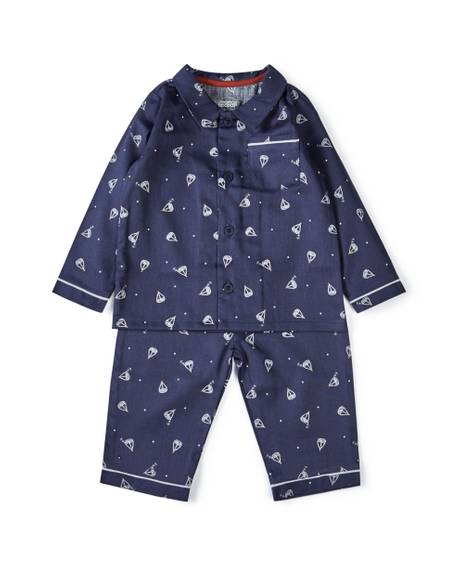 Blue Woven Pyjamas - 2 Piece Set