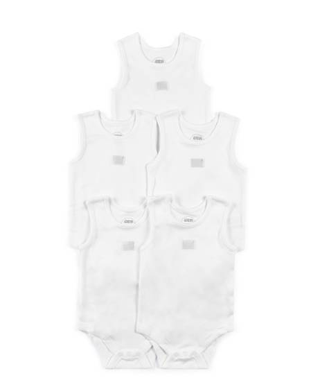 White Sleeveless Cotton Bodysuits - 5 Pack