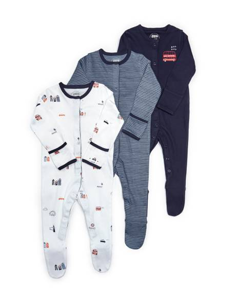 London Jersey Sleepsuits - 3 Pack