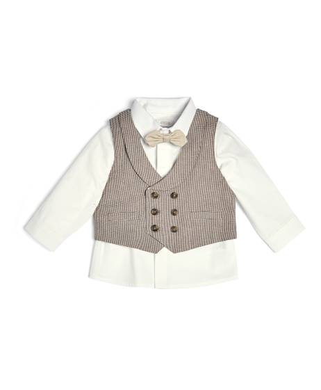 Check Waistcoat With Shirt & Tie - 3 Piece Set
