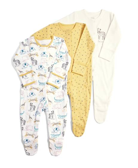 Pack of 3 Zoo Sleepsuits