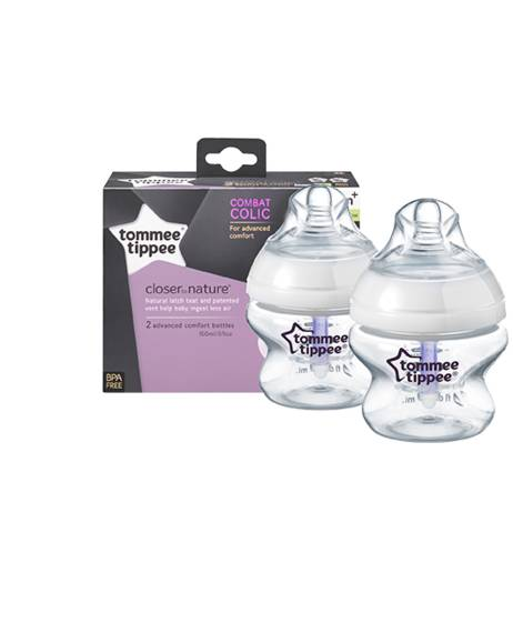 زجاجتي رضاعة Closer to Nature Advanced Comfort™ بسعة 150 ملليلتر من Tommee Tippee (مضادة للمغص)