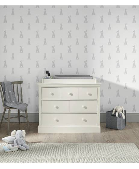 Oxford Wooden 6 Drawer Dresser & Baby Changing Unit - White