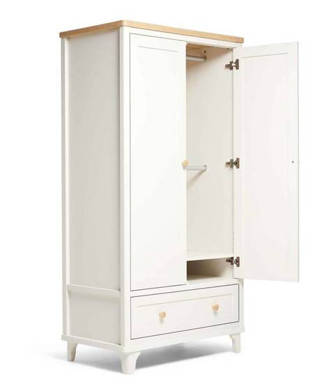 Lucca Ivory Oak - Wardrobe & Dresser/Changer Set