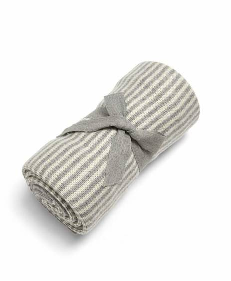Knitted Blanket - Grey & White Stripe