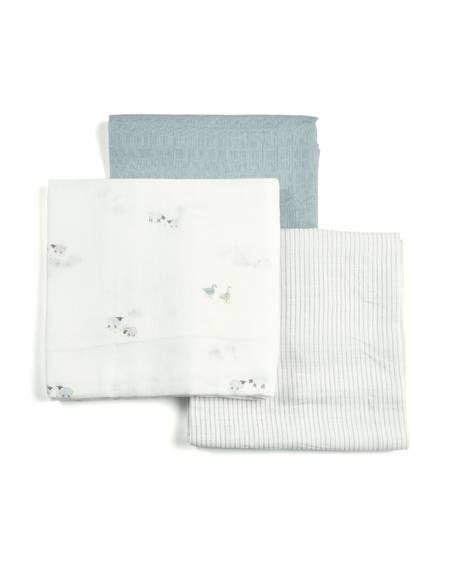 Welcome to the World Farm Muslin Squares (Pack of 3) - Blue & White