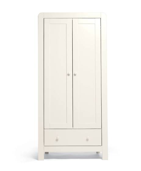 Dover 2 Door Nursery Wardrobe - White