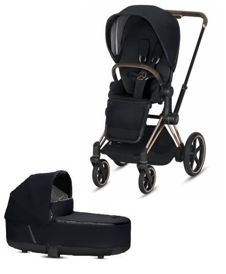 ePRIAM Rosegold stroller with Premium Black seat pack and Carrycot
