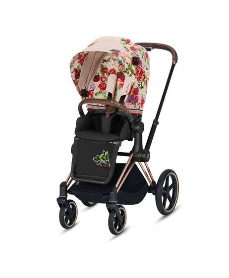 ePRIAM Rosegold stroller with spring blossom light beige seat pack