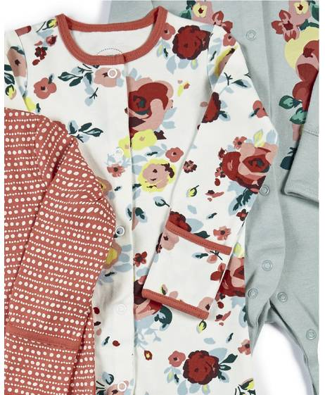 Floral Jersey Sleepsuits - 3 Pack