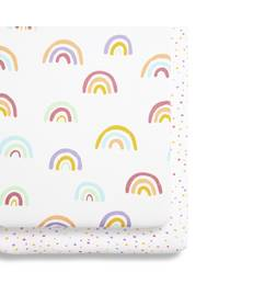 2 Pack Crib Fitted Sheets - Colour Rainbow