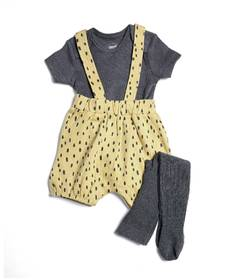 Shortie Dungarees, Bodysuit & Tights - 3 Piece Set