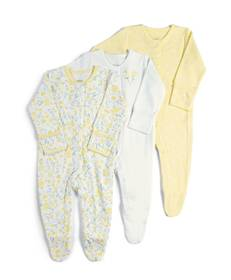 3Pack of  YELLOW FLRL Sleepsuits